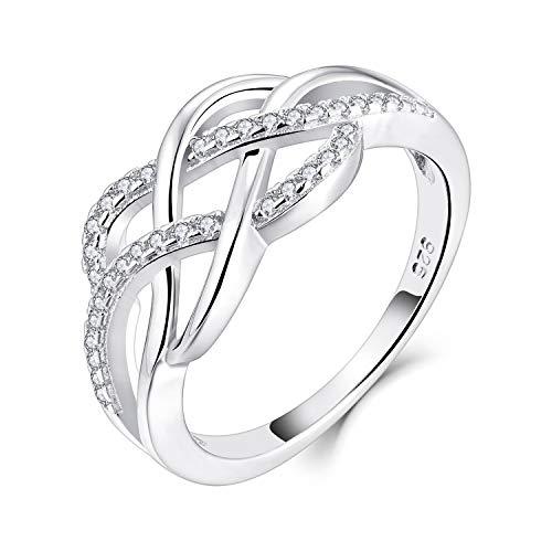 YL Keltischer Ring 925 Sterling Silber 3A Zirkonia CZ Jubiläum Ewigkeit Keltischer Knotenring für Damen(Größe 62)
