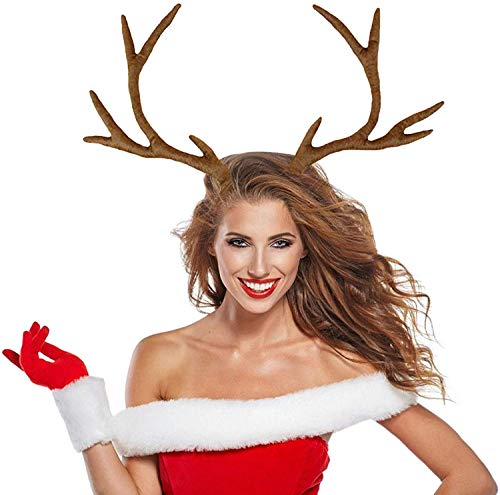 M&G House Reindeer Antlers Headband Christmas and Easter Party Short Plush Headbands (Brown)