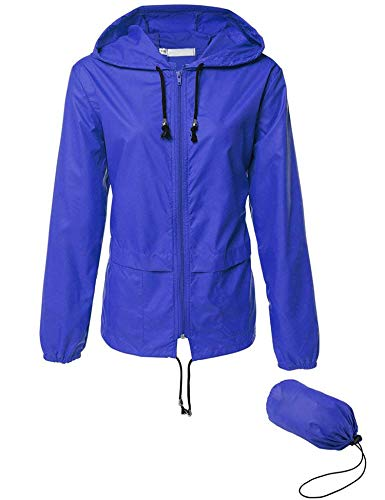 Womens Hiking Rain Jacket Waterproof Lightweight Packable Windbreaker Jacket Blue M