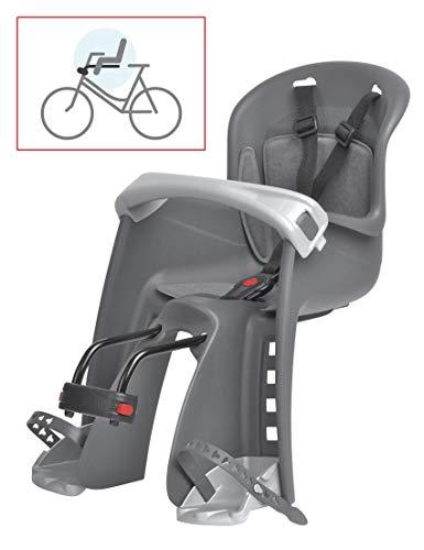 P4B | Fahrrad Kindersitz bis 15 Kg - Montage vorne | Mit Fußhaltegurten und verstellbare Fußstützen in 5 Stufen | Für 26-29 Zoll und 22-40 mm Rohrdurchmesser | Fahrradkindersitz vorne (Grau/Silber)