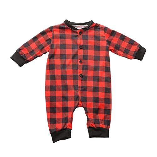 Conjunto de Pijamas Familiares de Navidad, Mono de Las Mujeres Traje de la Tela Escocesa Ropa Familiar a Juego para la Familia del Padre y la Madre y el Bebé,Traje de Ropa de Mujer Hombre Niños