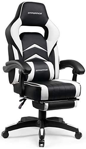 Gaming Chair with Footrest Office Desk Chair White Ergonomic Computer Chairs for Adults Conference Manager Work Chair PU Leather High Back Adjustable Task Chair with Lumbar and Padded Footrest chair gaming white