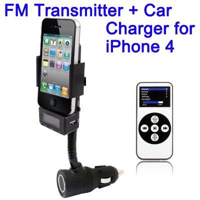 FM Transmitter Cargador de baterías coche soporte para iPhone 3G S 44s iPod Touch AUX
