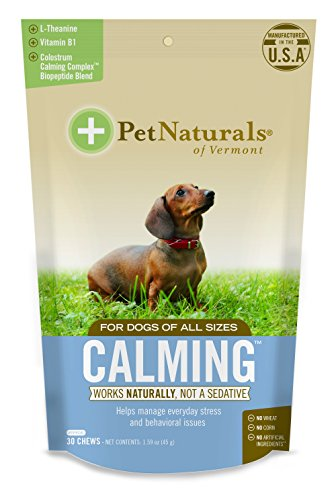 Pet Naturals - Calming for Dogs, Natural Behavior Support for Stress Inducing Events, 30 Bite-Sized Chews Includes Naturally Sourced Anxiety Calming Ingredients, 1.59 oz (0700781.030)