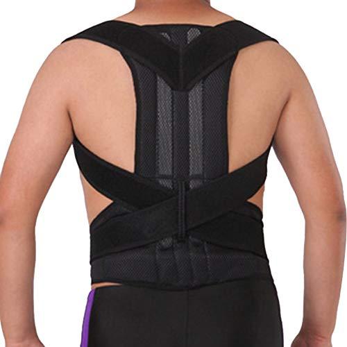 Hshduti - Correttore posturale per uomini e donne, supporto per la schiena per clavicola, raddrizzatore per schiena regolabile e sollievo dal dolore da collo, schiena e spalle, nero, 2XL