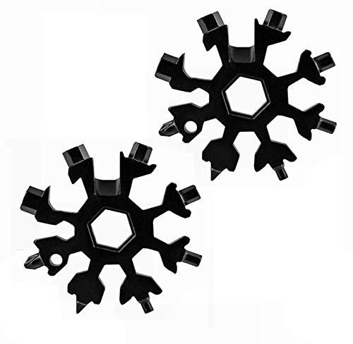 2020 Multiherramienta Snowflake, 18 en 1 Llave de destornillador multifuncional Llavero de copo de nieve portátil Llave hexagonal de acero inoxidable - Llave de anillo - Abrebotellas (Negro)