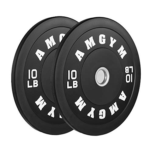 AMGYM LB Bumper Plates Olympic Weight Plates, Bumper Weight Plates, Steel Insert, Strength Training