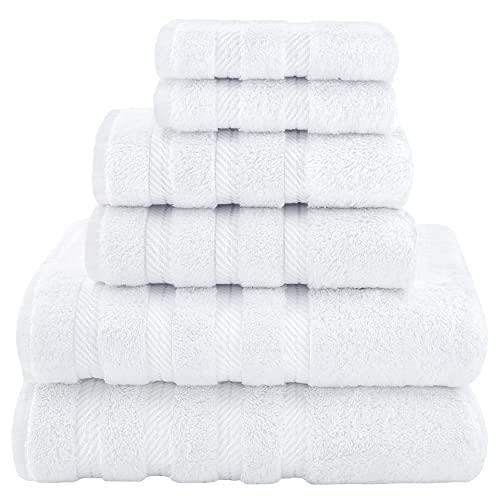 American Soft Linen 6-Piece 100% Turkish Genuine Cotton Premium & Luxury Towel Set for Bathroom & Kitchen, 2 Bath Towels, 2 Hand Towels & 2 Washcloths [Worth $72.95] - Snow White