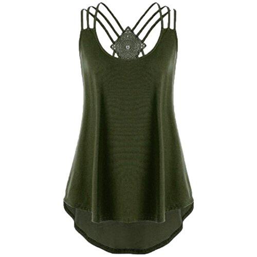 ESAILQ Damen T-Shirt Damen Sommer Bauchfrei Trägerlos V-Ausschnitt Stickerei Crop Tops Oberteile Bluse(S,Armeegrün)