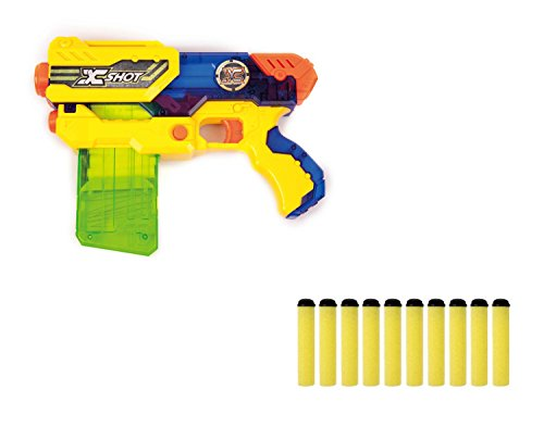 Zuru X-Shot Hurricane Clip Blaster – Pistola de juguete con cargador de flecha suave + 10 dardos suaves con flechas