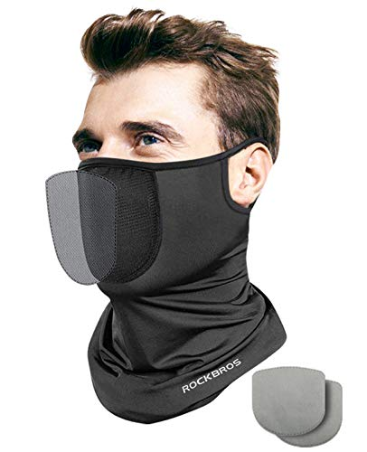 Neck Gaiter Mask with Filter for Men Women Reusable Bandana Face Cover with Ear Loops Face Covering Washable Scarf Breathable Balaclava for Cycling Outdoor,Black