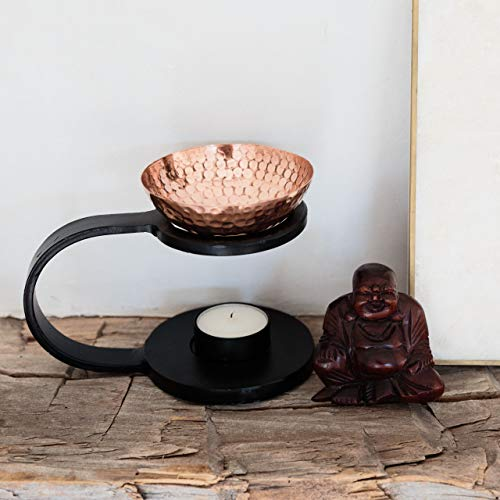 Iron & Copper Essential Oil Burner, Non-Electric Aroma Diffuser with Tea Light Candle Holder – Handcrafted Old World Charm