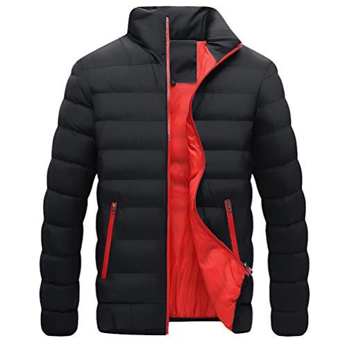 QitunC Herren Steppjacke mit Stehkragen Winter Warm Übergangsjacke Moderne Leichte Winterjacke Wintermantel für Männer (Schwarz, L)