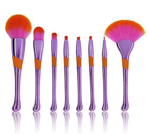Zcthk Set de pinceaux de Maquillage, Poils synthétiques Doux et Design de Manche de Baseball pour 8 pièces, pour Une Application Uniforme des pinceaux de Maquillage Blush,Purple