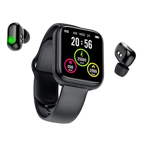 Eeauytr X5 Smart Watch Auriculares, 2 en 1 separada pulsera Bluetooth frecuencia arterial monitoreo reloj