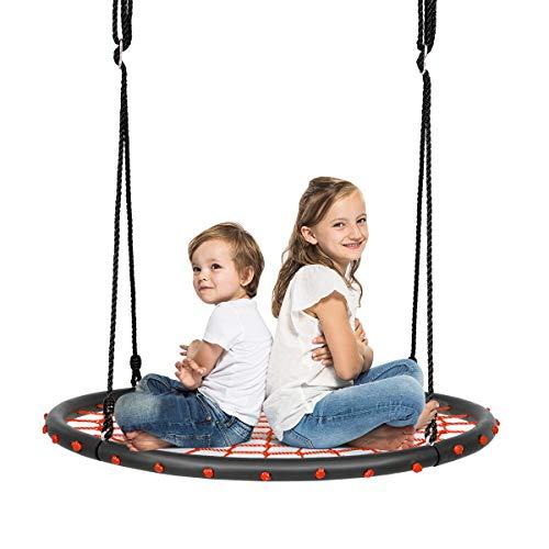 COSTWAY Ø100cm Nestschaukel, Rundschaukel 100-160cm verstellbaren Seil, Baumschaukel 150kg Tragkraft, Tellerschaukel Hängeschaukel (Orange)