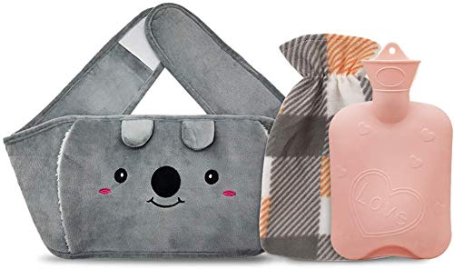 Hot Water Bottle Rubber Warm Water Bag with Soft Waist Cover,Hot Water Bag for Neck and Shoulder, Back, Legs,Waist Warm (Pink-Heart)