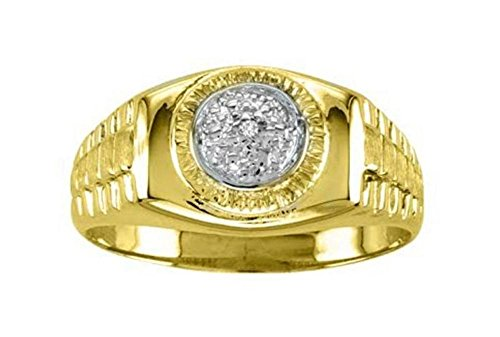 RYLOS Mens Rings 14K Yellow Gold - Diamond Ring Lucky Pinky Ring White Gold - Rolex Style Rings For Men Mens Jewelry Gold Rings