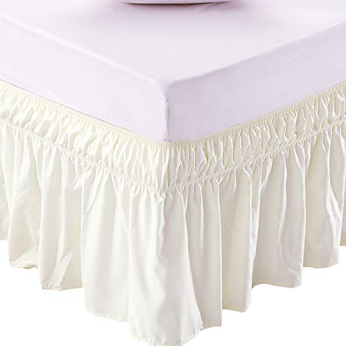 MEILA Bed Skirt Three Fabric Sides Elastic Wrap Around Dust Ruffled Solid Bed Skirts Easy On/Easy Off 16 Inch Tailored Drop, Ivory, Queen/King