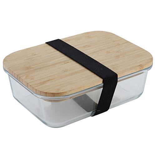 axentia Boîte à Lunch, Boîte Alimentaire en Verre Borosilicate avec Couvercle en Bambou, Lunch Box env. 19,5 x 7 x 14,5 cm, Transparent / Bois