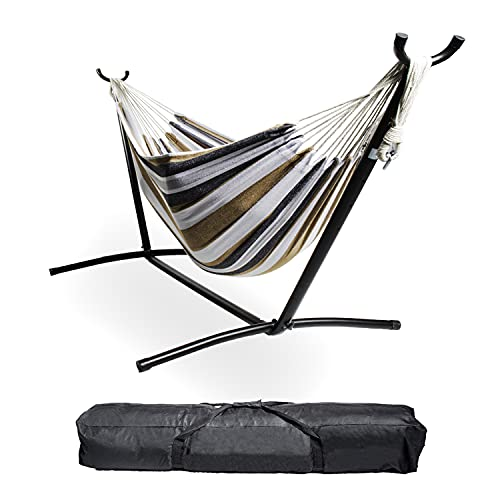Backyard Expressions - 914921 - Portable Double 2 Person Outdoor Hammock with Stand - Brown and Gray - 9 x 3 Foot Hammock