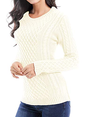 v28 Women Crew Neck Knit Stretchable Elasticity Long Sleeve Sweater Jumper Pullover (Medium, Off White)