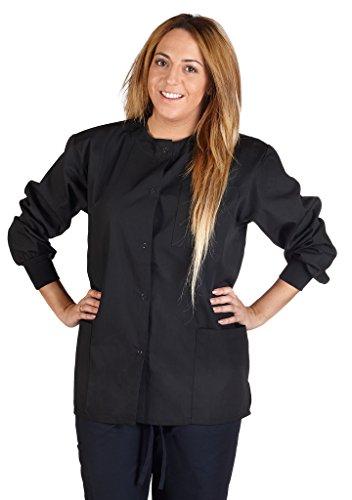 M&M SCRUBS Women's Scrub Jacket Medical Scrub Jacket L Black