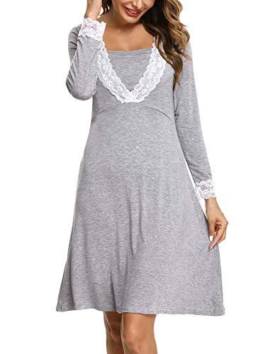 Irevial camisón Lactancia Algodon Invierno,Pijama premamá Manga Larga de Encaje, Suave Embarazo Vestidos Camisón de Maternidad Hospital,Ropa para Dormir en casa,Gris,XXL