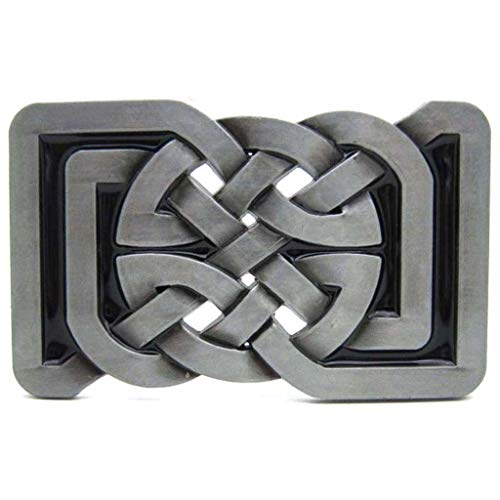 Novel Buckles for Belts Square Knot Belts Buckle Rectangle Retro Vintage Cool Grey Silver Medieval Gifts Christmas