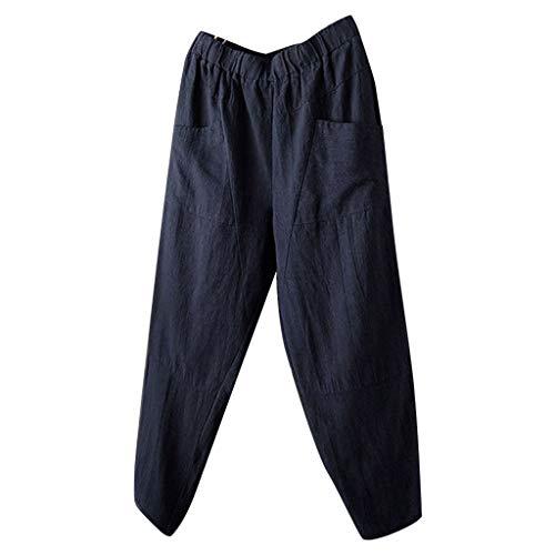 Pantalon pour homme avec poches Été Taille élastique Coupe ample Légère Sport Fitness Running Casual Beach Linen Pantalon Respirant - Bleu - L