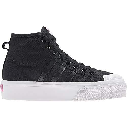 adidas Nizza Platform Mid W, Zapatillas Deportivas Mujer, Core Black FTWR White Screaming Pink, 39 1/3 EU