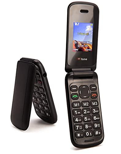 TTsims Telefono cellulare a conchiglia Flip TT140 Fotocamera Bluetooth Il telefono cellulare pieghevole più economico - Nero