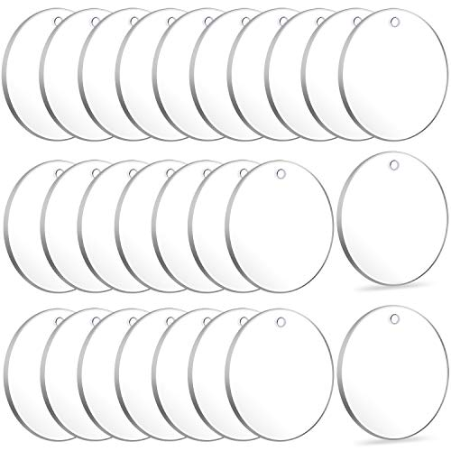 Acrylic Keychain Blanks, Audab 50pcs Clear Keychains for Vinyl, Acrylic Transparent Circle Discs Acrylic Blanks Keychain Bulk for DIY Keychain, Crafting and Vinyl Projects