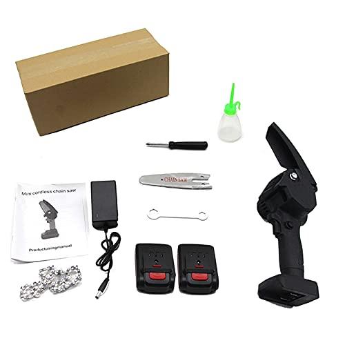 SXNYC Mini Motosierra Portátil Inalámbrica, 4inch 24V Portátil Inalámbrico Podar Cizallas Motosierra con 2 Baterías para Corte de Madera, Poda de Ramas