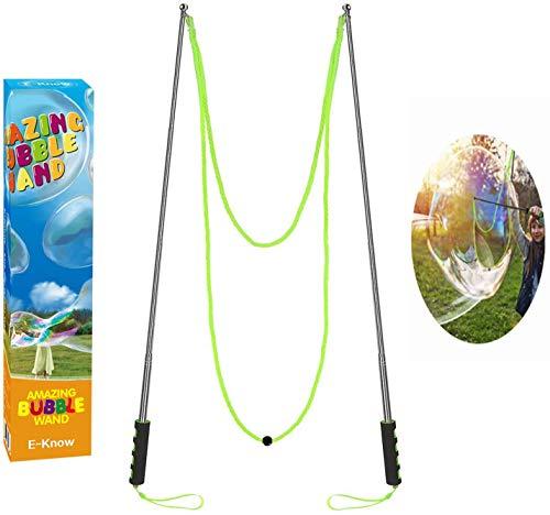 E-Know Giant Bubble Schnurstäbe Seifenblasen-Stab für Partei-Blase-Edelstahl machte das teleskopische Entwurfs-einfache Tragen für Garten-Spielzeug-1 im Freien gesetzt Seifenblasen-Stab(MEHRWEG)