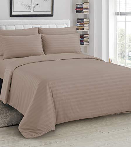 Ausumm Satin Stripe Duvet Cover with Pillow Cases Quilt Bedding Set Mink Brown Mocha, King