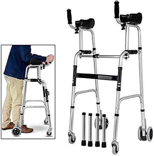 Rollator Met Armsteun, Lower Limb Trainer Met Verstelbare Mobility Aid Aluminium Opvouwbare Standard Walker Met Elbow Rust Voor Binnen- En Buitengebruik,A