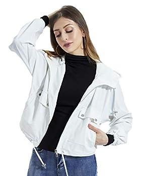 DIASHINY Women s Hooded Loose Jacket Zip Up Rain Coat Spring Fall Windbreaker 007  White S