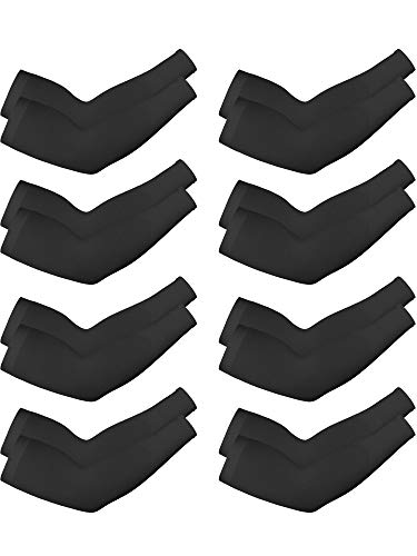 8 Pairs Unisex UV Protection Arm Cooling Sleeves Ice Silk Arm Cover (Black, Knitted Ice)