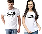 Handycrafts Men's & Women Regular Fit Round Neck Couple King Queen Design T-Shirts
