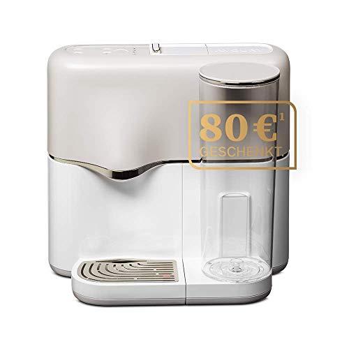 AVOURY One - Cafetera de cápsulas de té (incluye filtro de agua y 8 tipos de té orgánico en cápsulas), color plateado y blanco