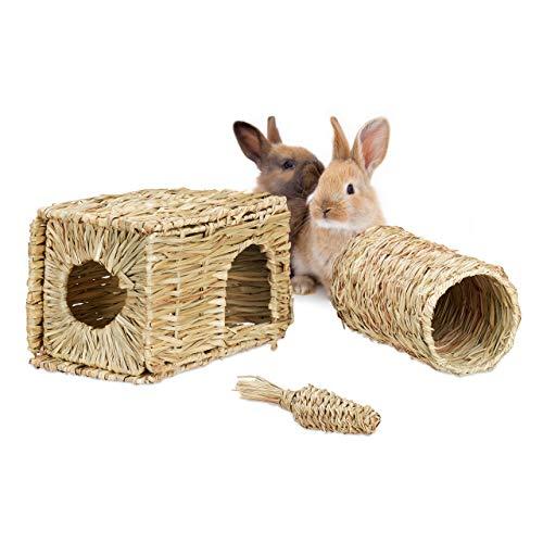 Relaxdays Kleintier Zubehör, 3 TLG, Grashaus, Tunnel & Stroh Karotte, Käfigzubehör Meerschweinchen, Kaninchen, Natur