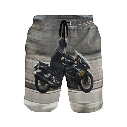 LISNIANY Badehose für Herren,Motorrad Suzuki Motorräder fliegen die Straßen,Badeshorts für Männer Surfen Strandhose Schwimmhose(XXL)