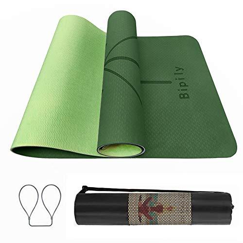 Bipily rutschfeste TPE Yogamatte Schadstofffrei Fitnessmatte Sportmatte für Yoga,mit Tragegurt und Rucksack Pilates und Fitness, Weich, mit Körperausrichtungssystem,183 x 66 x 0.6 cm-Dunkelgrün