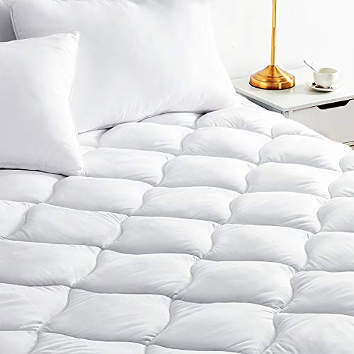 BINHIA Mattress Pad King Mattress Topper - Quilted Fitted Cooling King Mattress Pads - Overfilled with Breathable Snow Down Alternative Filling
