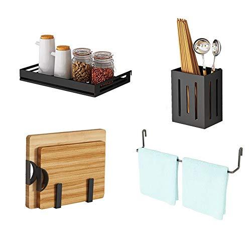 Ukoni Homeware Pegboard Storage Organizing Accessories Tools - Set of 4 - Hooks Set 1 Tray 1 Rack 1 Utensil Bins 1 for Pots Pans Cutting Board Jars Towel - Stainless Steel Black