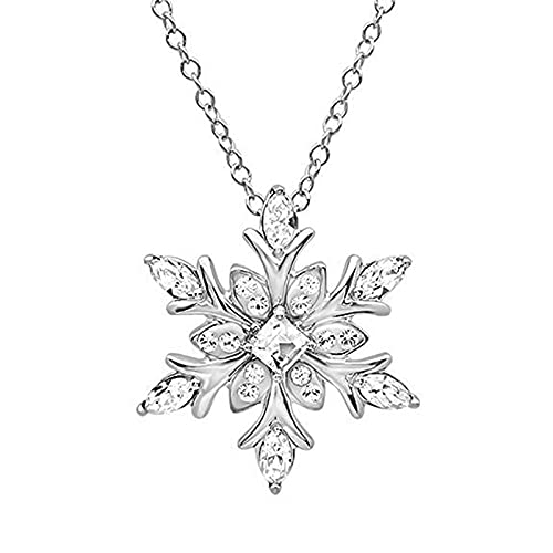 Collar Blanco Cristal Copo de Nieve Flor Color Plata Collar Colgantes Joyería Para Mujeres Niña Mejor Regalo Boho Joyería Regalo