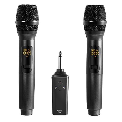 iMeshbean Kabelloses Mikrofon, Dynamisches Mikrofon Funkmikrofon Handmikrofon UHF Metall Mikrofon Set mit Empfänger,Tragbares Mikrofon, Ideal für Karaoke, Konferenz, Rede, Klasse (K380S, Schwarz)