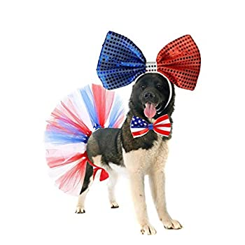 4th July Pet Costume Independence Day Dog Costume Accessories USA Flag Bowtie Collar American Red Blue and White Mesh Tutu and Bowtie Headband for Dogs 3Packs