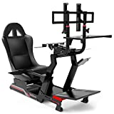 Extreme Simracing Cockpit VIRTUAL EXPERIENCE V 3.0 Black/Black Racing Simulator For Logitech G25, G27, G29, G920, Thrustmaster And Fanatec - Heavy Dutty Construction - Complet With all Accessories